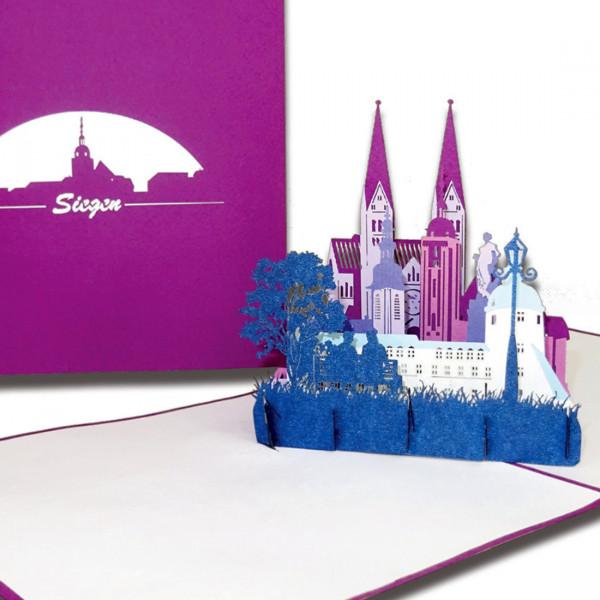 """Pop-Up Karte """"Siegen – Skyline der Stadt"""", 3D Grußkarte als Souvenir, Geschenkgutschein"""