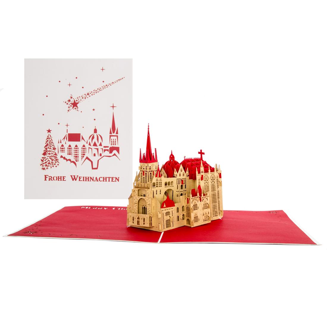 """Aachener Dom """"Frohe Weihnachten"""" Weiss Rot"""