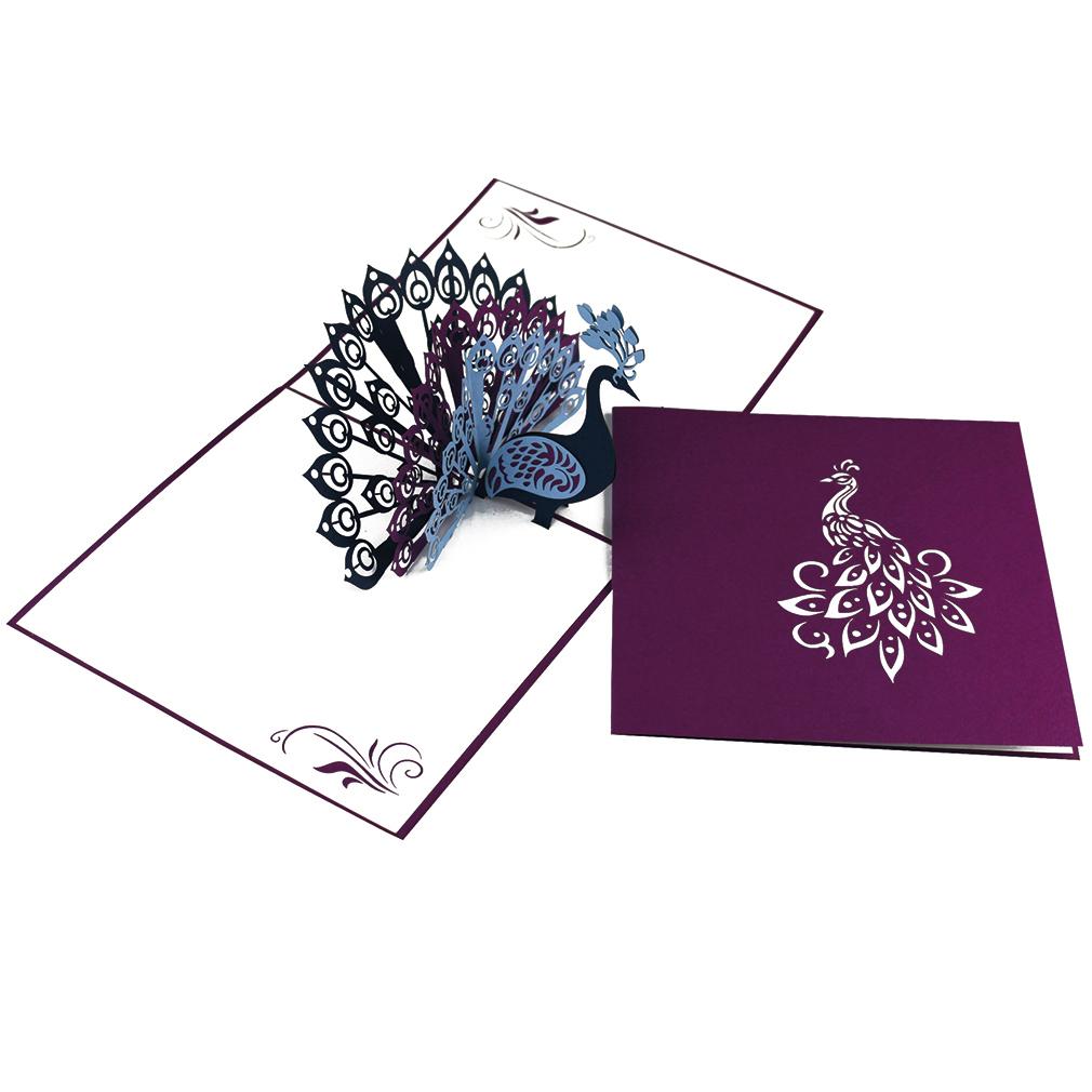 """Pop Up Karte """"Pfau"""" - Hochzeitskarte, Geldgeschenk, Glückwunschkarte"""