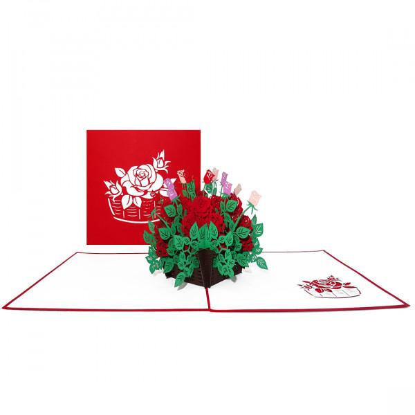 """Pop Up Karte """"Rote Rosen"""" - Geburtstagskarte, Muttertagskarte, Karte zum Hochzeitstag, Genesungskart"""