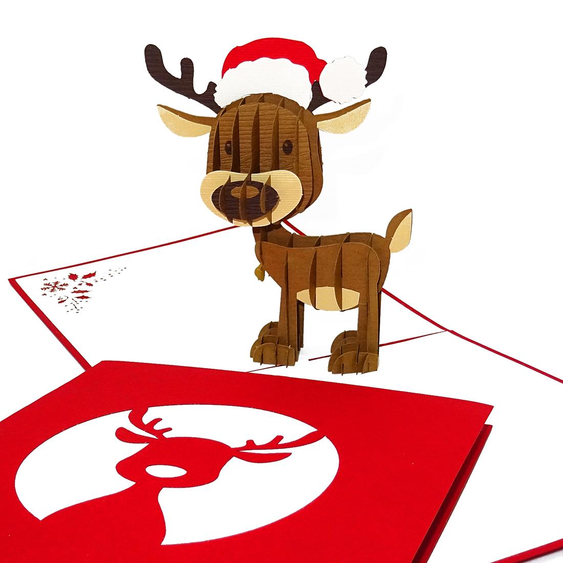 """Pop Up Karte """"Rudolph Rentier"""" - Weihnachtskarte mit Umschlag"""
